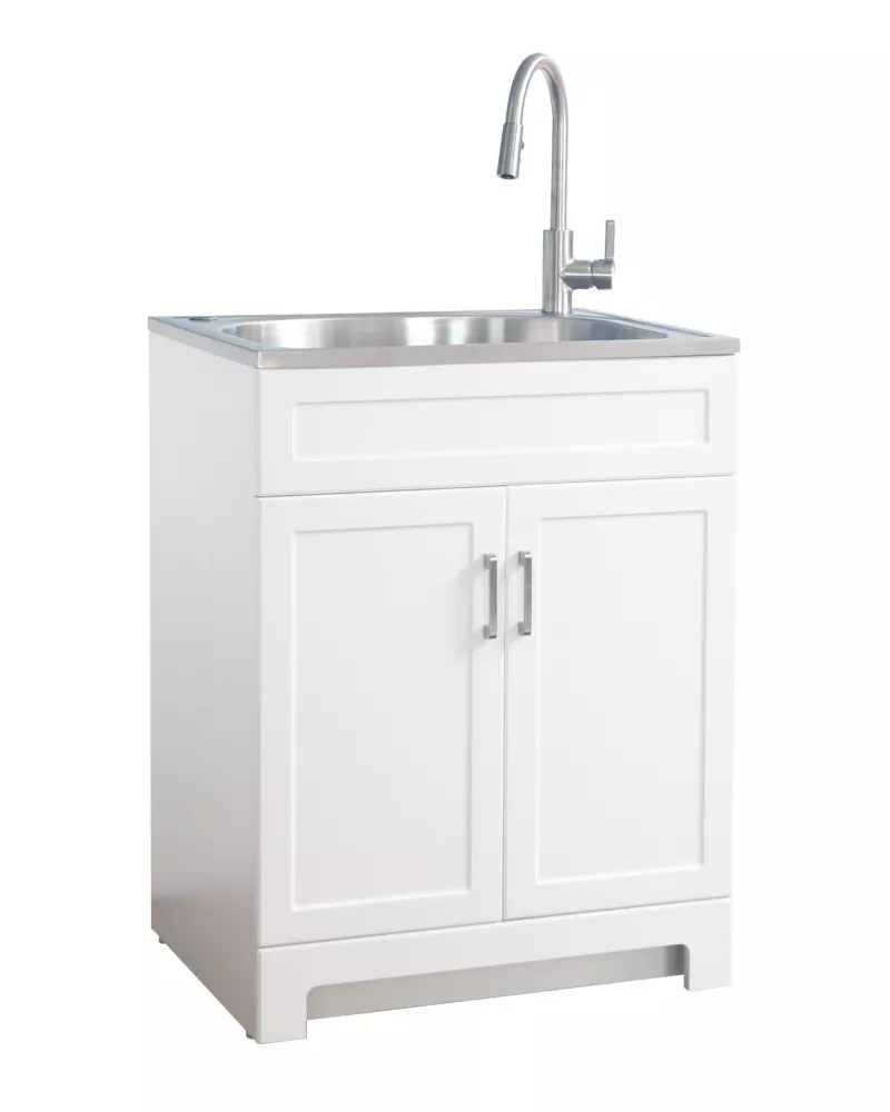 all in one 25 inch laundry cabinet with stainless steel sink
