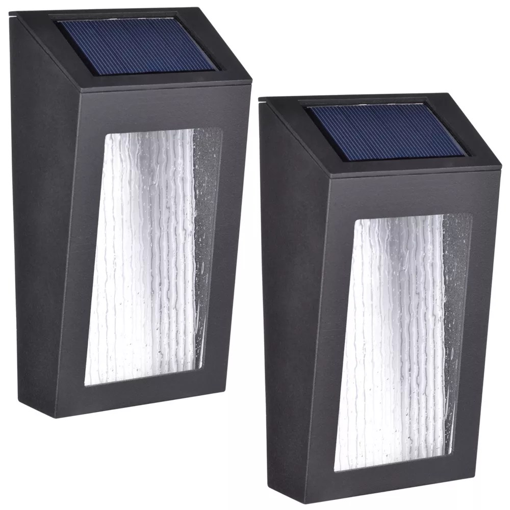 set of 2 solar led accent lights with rectangular design and seeded glass lenses