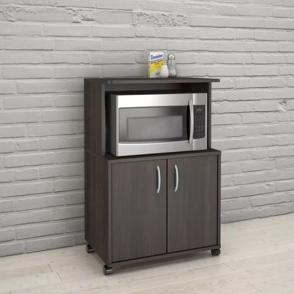 2 door mobile microwave cart ebony