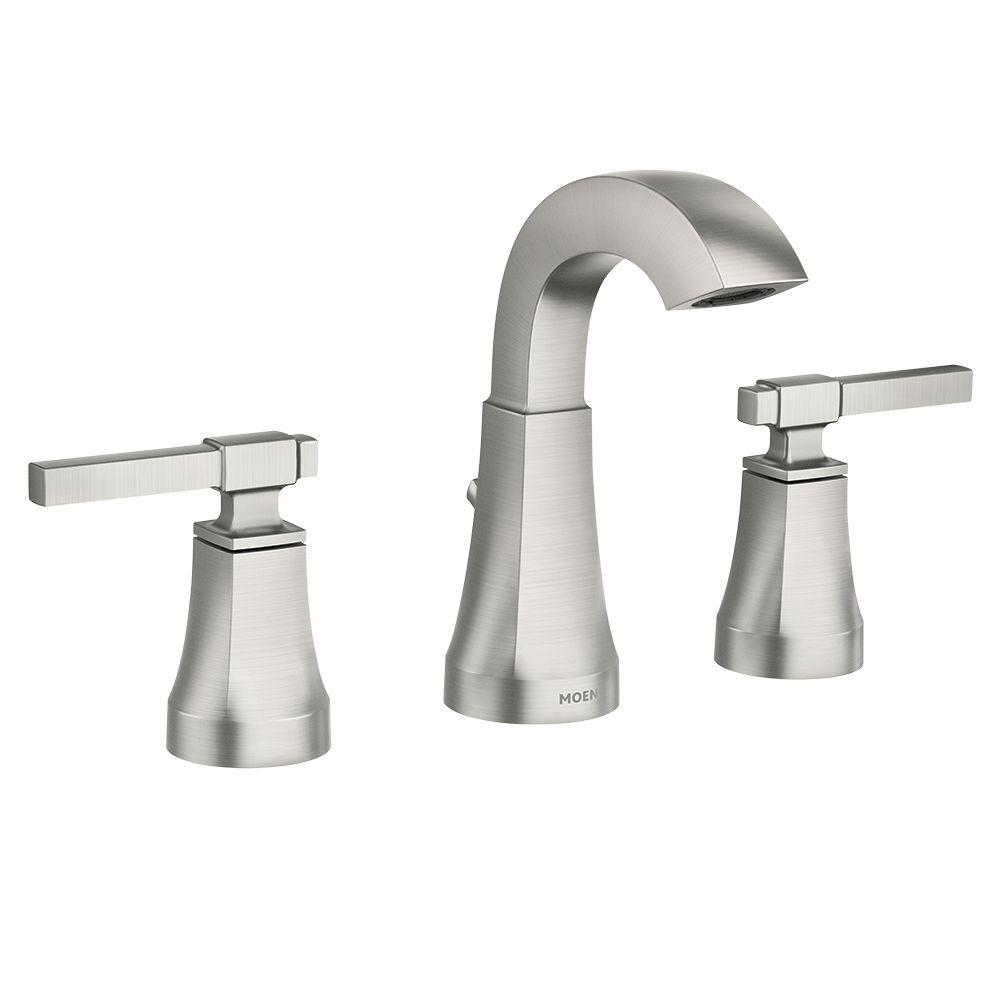 ayda 8 inch widespread 2 handle bathroom faucet in spot resist brushed nickel