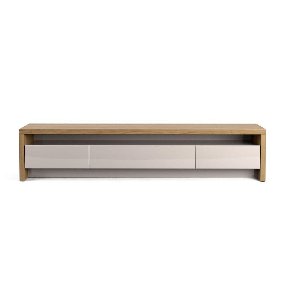 sylvan 85 43 meuble tv en bois naturel et blanc casse
