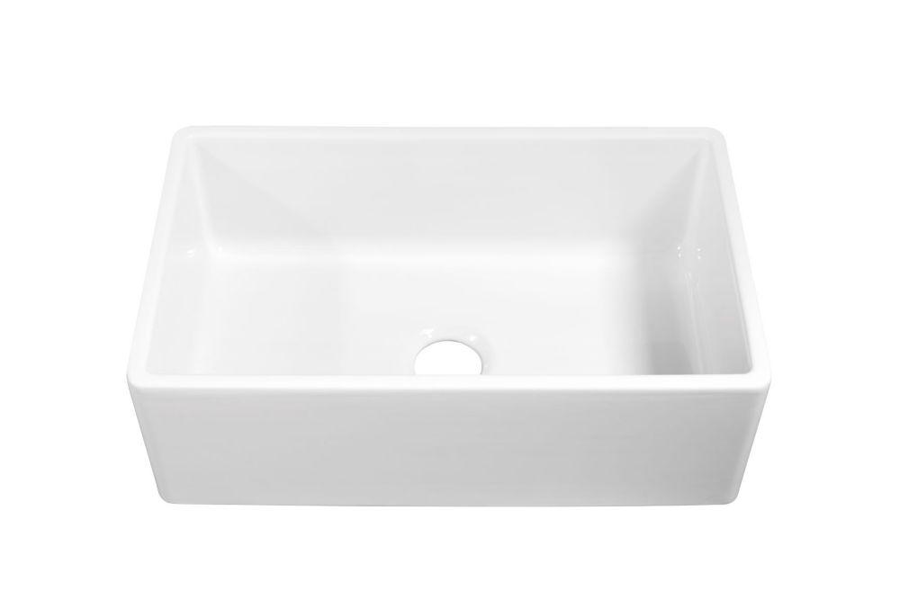 bradstreet ii farmhouse apron front fireclay 30 in single bowl kitchen sink in crisp white