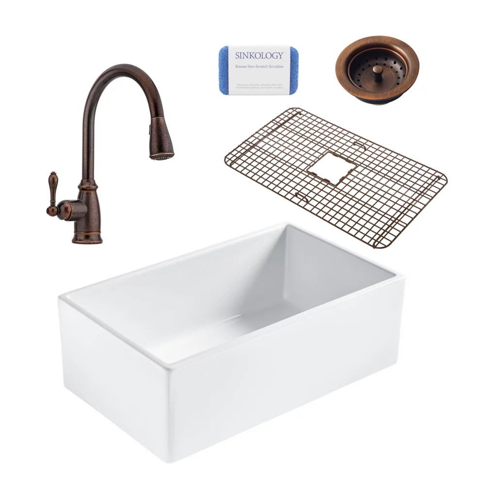 bradstreet ii farmhouse fireclay 30 in single bowl kitchen sink pfister canton faucet and drain