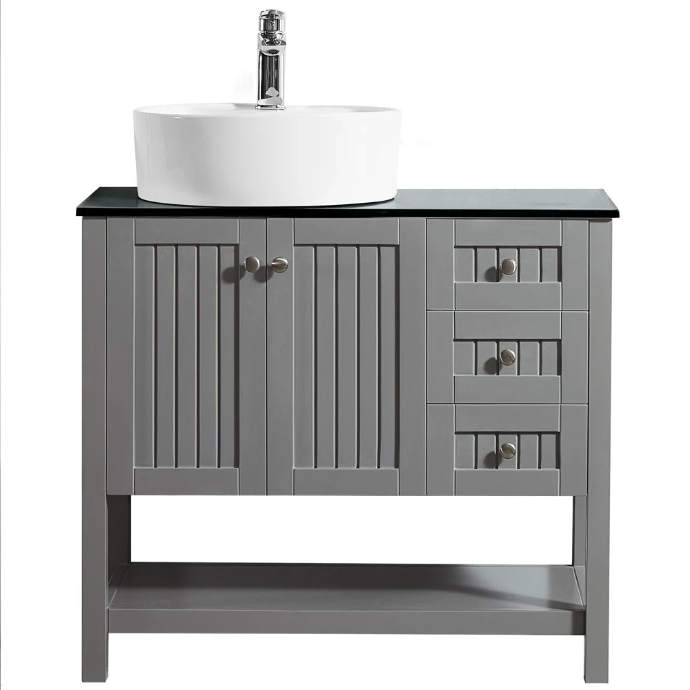 modena 36 inch vanity in grey with glass countertop with white vessel sink without mirror