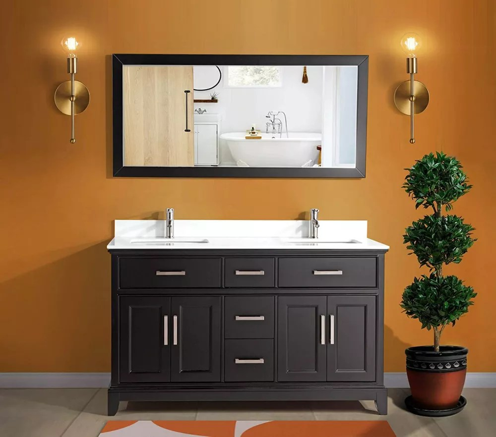 genoa 60 inch vanity in espresso with double basin vanity top in white phoenix stone and mirror