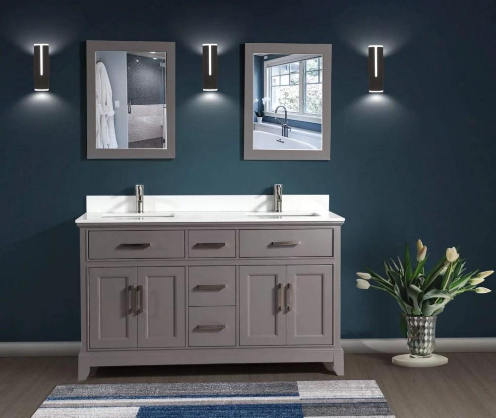 genoa 72 inch vanity in grey with double basin vanity top in white phoenix stone and mirror