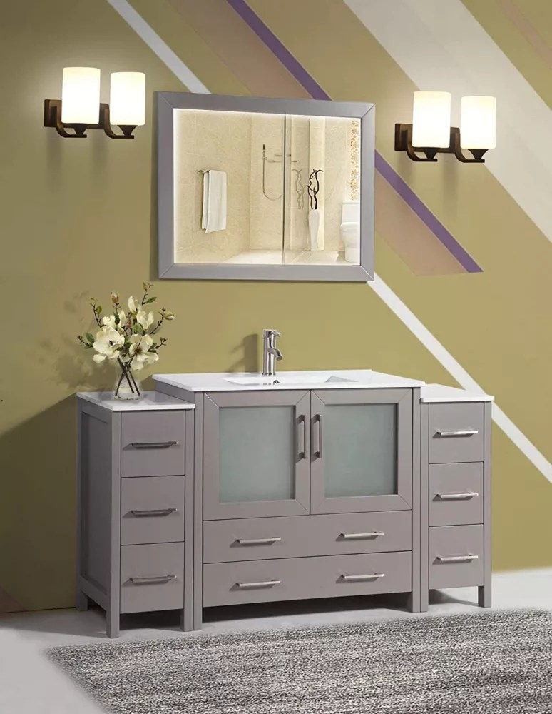 Vanity Art Brescia 60 Inch Bathroom Vanity In Grey With Single Basin Vanity Top In White C The Home Depot Canada