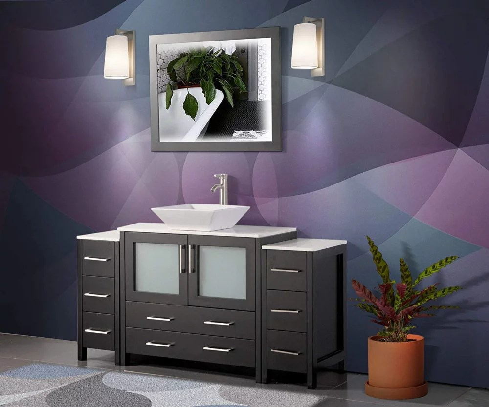 ravenna 60 inch bathroom vanity in espresso with single basin vanity top in white ceramic and mirror