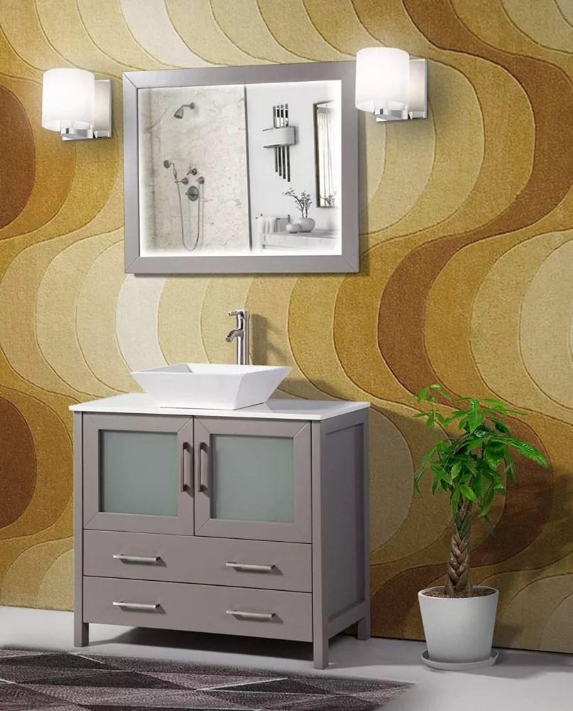 ravenna 36 inch bathroom vanity in grey with single basin vanity top in white ceramic and mirror