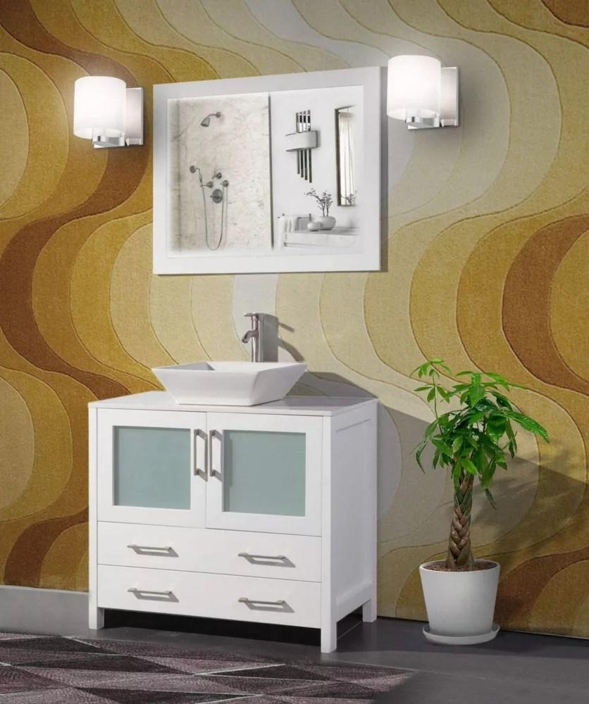 ravenna 36 inch bathroom vanity in white with single basin vanity top in white ceramic and mirror