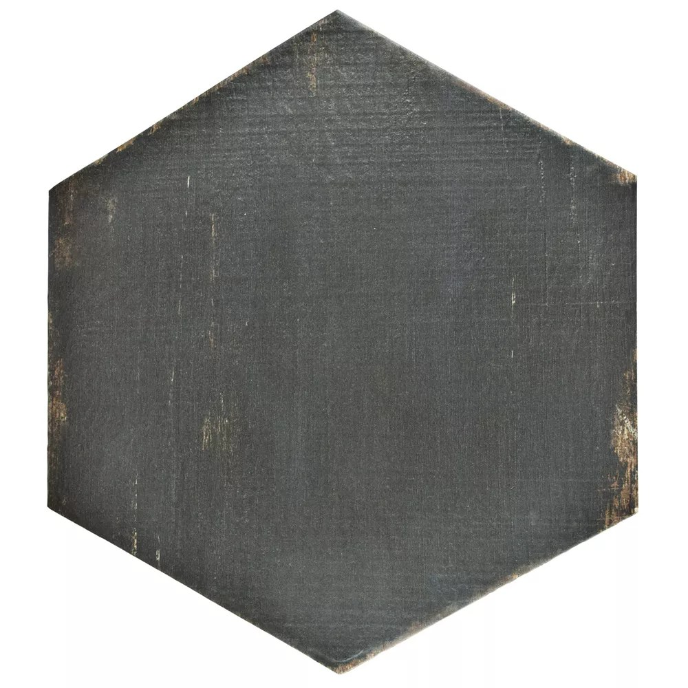 retro hex nero 14 1 8 inch x 16 1 4 inch porcelain floor and wall tile 11 05 sq ft case
