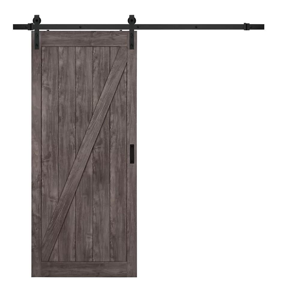 36 inch x 84 inch iron age z design rustic barn door with modern sliding door hardware kit