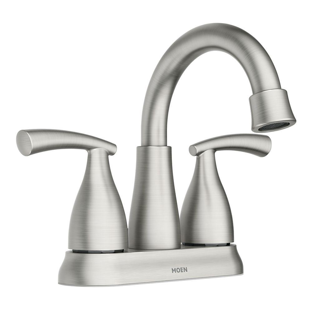 essie 2 handle 4 inch centerset bathroom faucet in spot resist brushed nickel