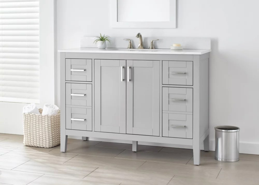 ellia 48 inch vanity in grey with white carrera top