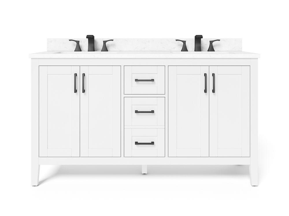 ellia 60 inch 4 door 2 drawer bathroom vanity in white with engineered carrara marble top
