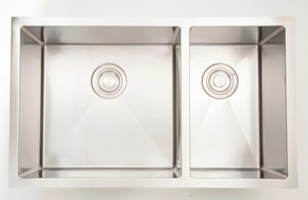 28 inch w double bowl undermount kitchen sink for a wall mount drilling