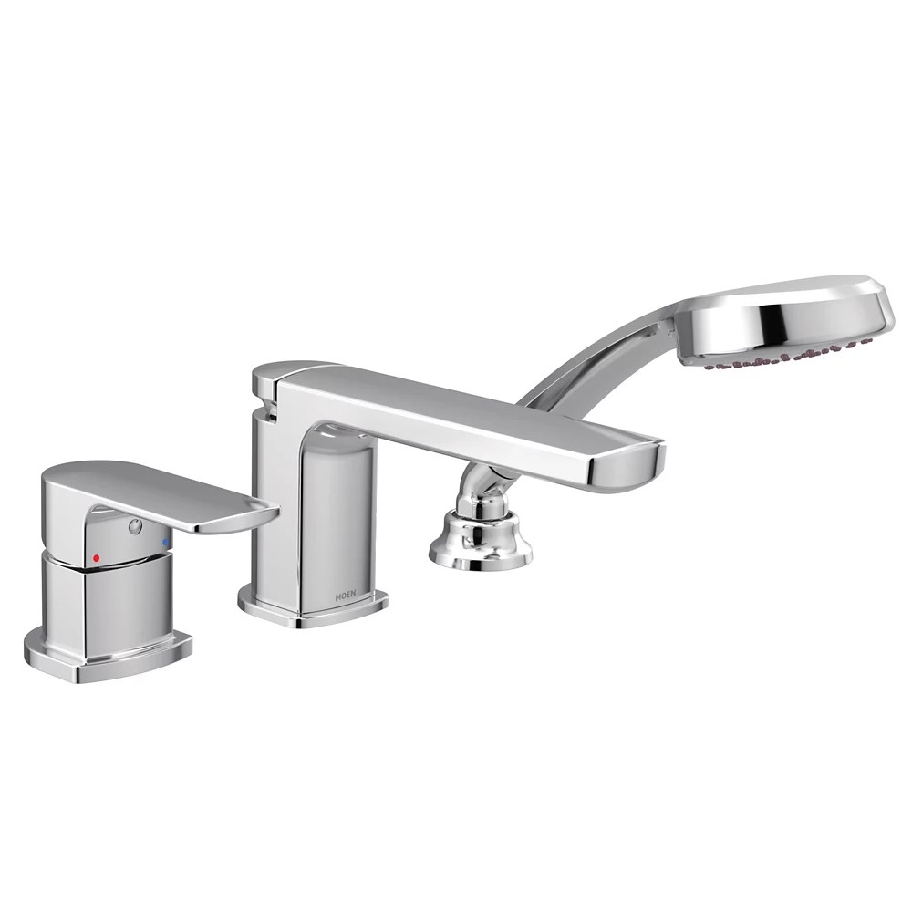 rizon single handle low arc roman tub faucet includes hand shower in chrome valve sold separately