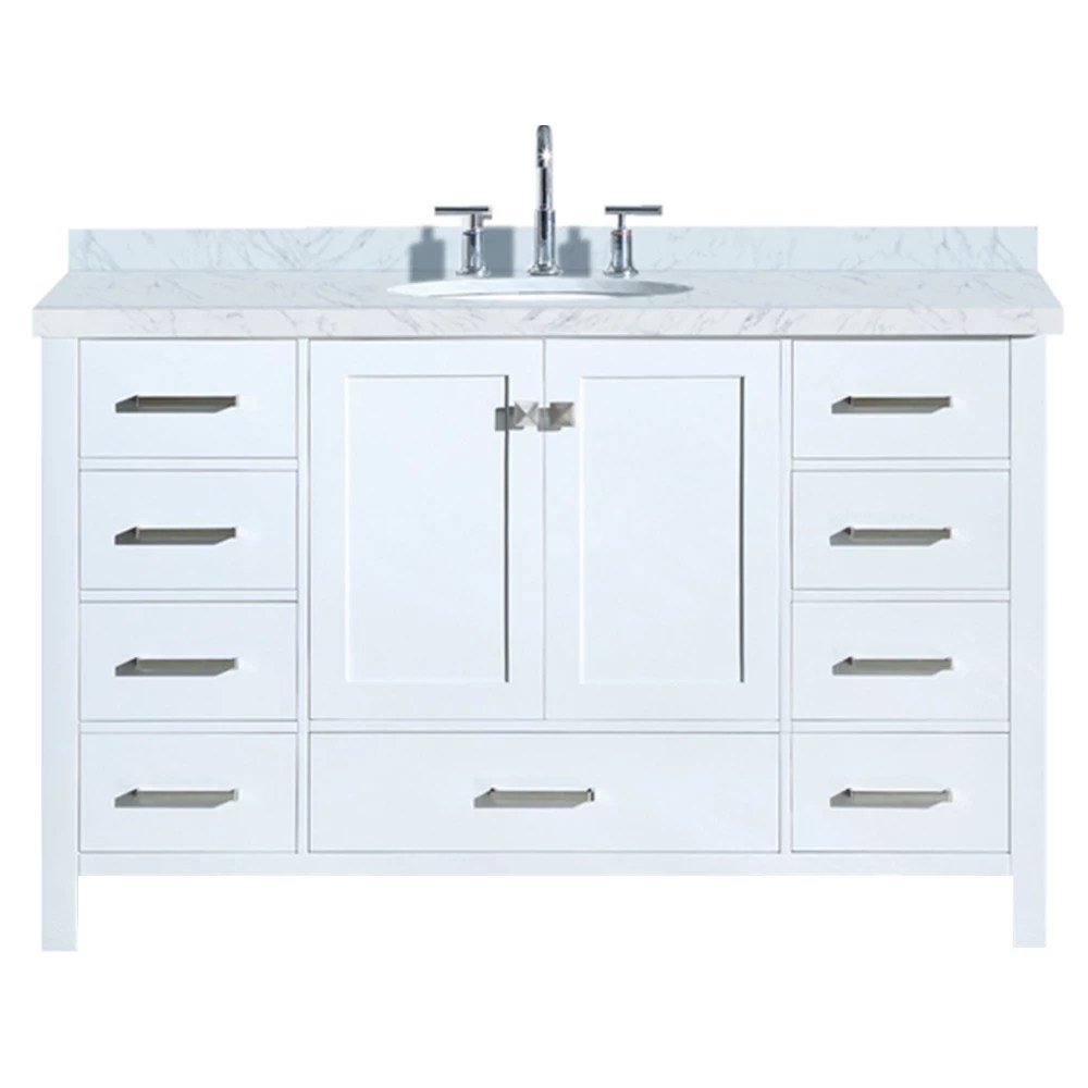 ensemble meuble lavabo cambridge 140 cm de couleur blanche avec evier ovale simple