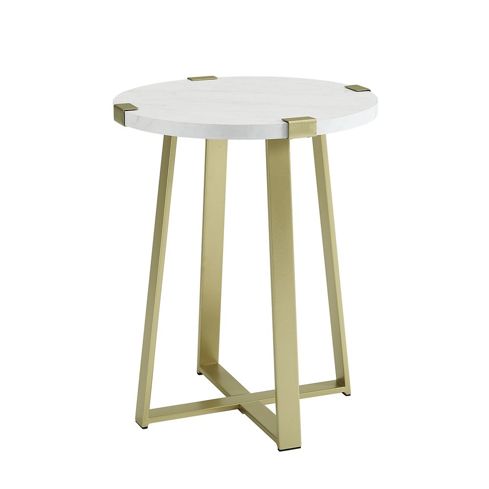 Walker Edison Rustic Farmhouse Metal Wrap Side Table White Faux Marble Gold The Home Depot Canada