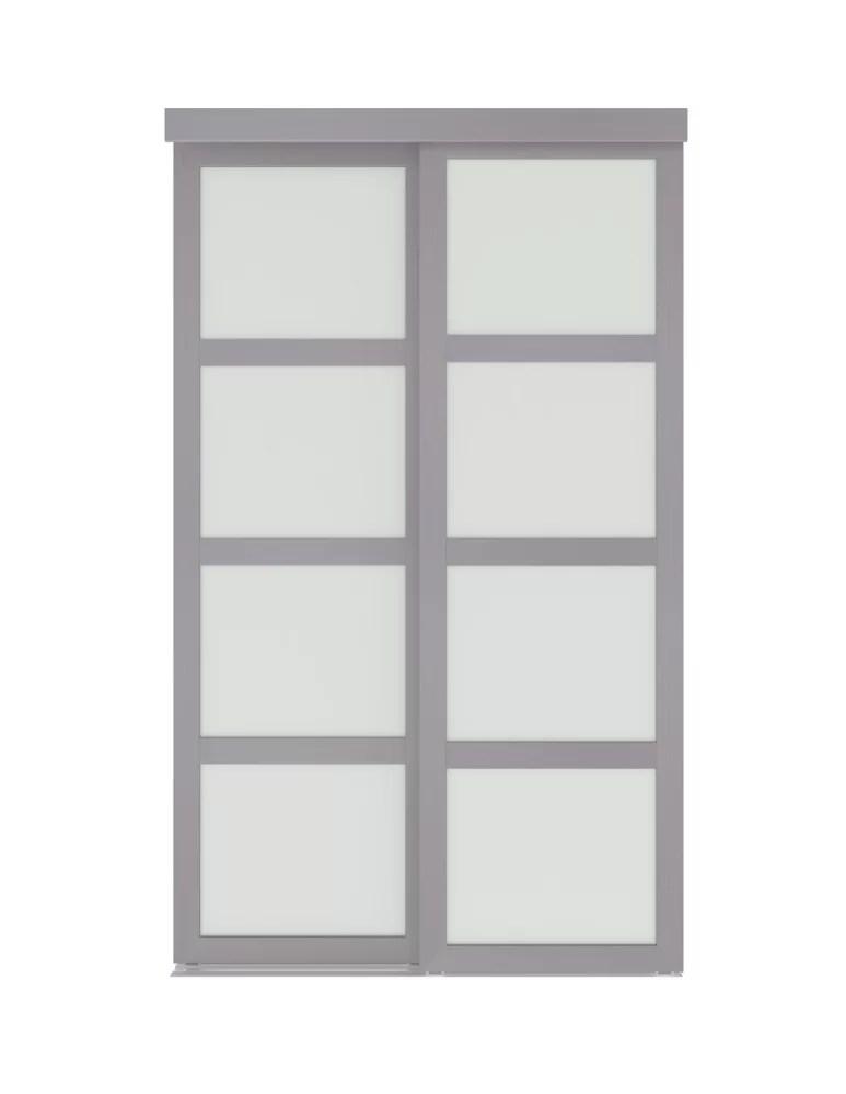48 inch x 80 5 inch interior sliding closet door frost vision plus steel grey