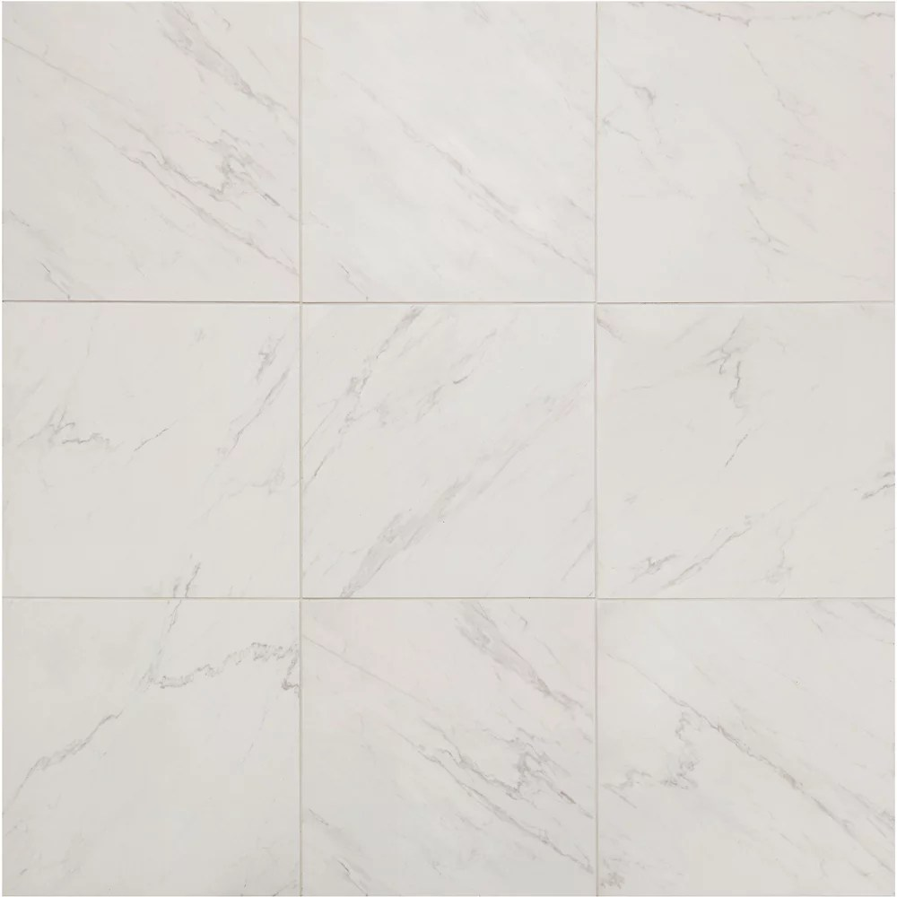 carrara 18 inch x 18 inch glazed porcelain floor and wall tile 2 2 sq ft piece