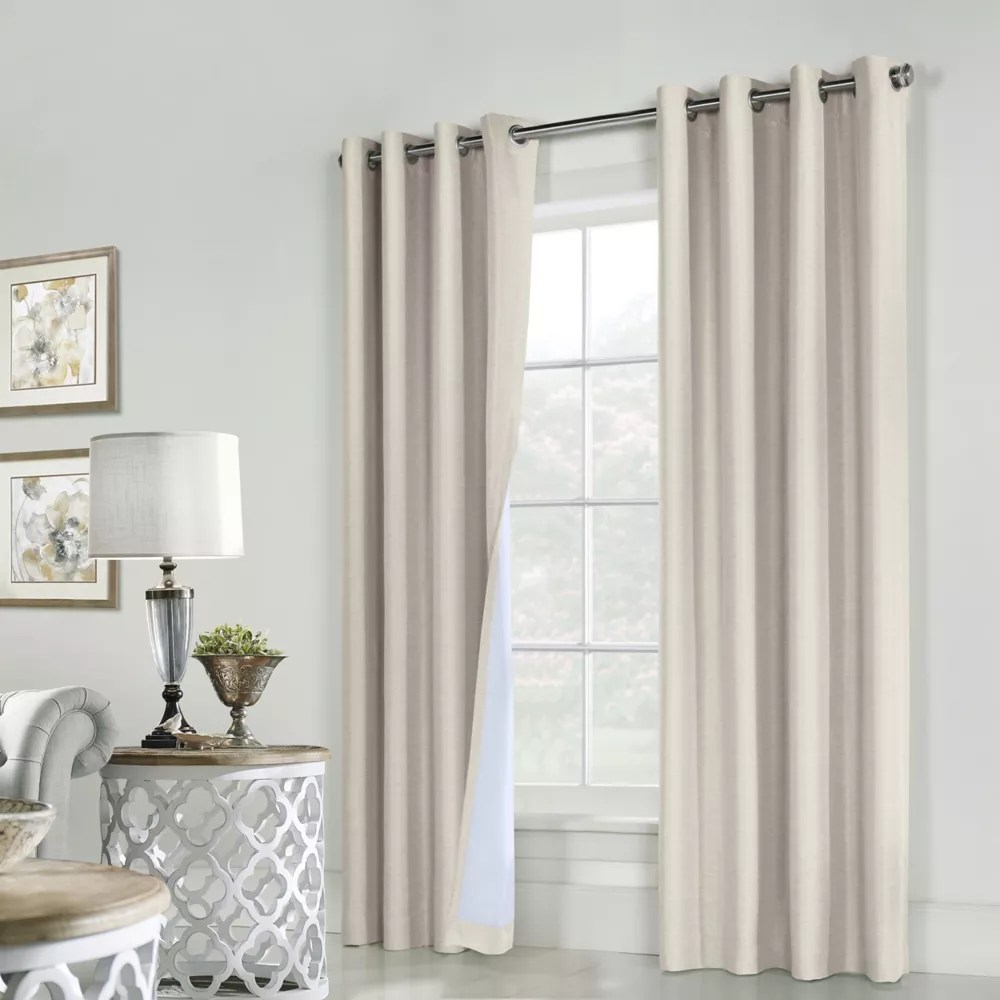 ventura total blackout grommet curtain panel pair 52 w x 84 l in natural