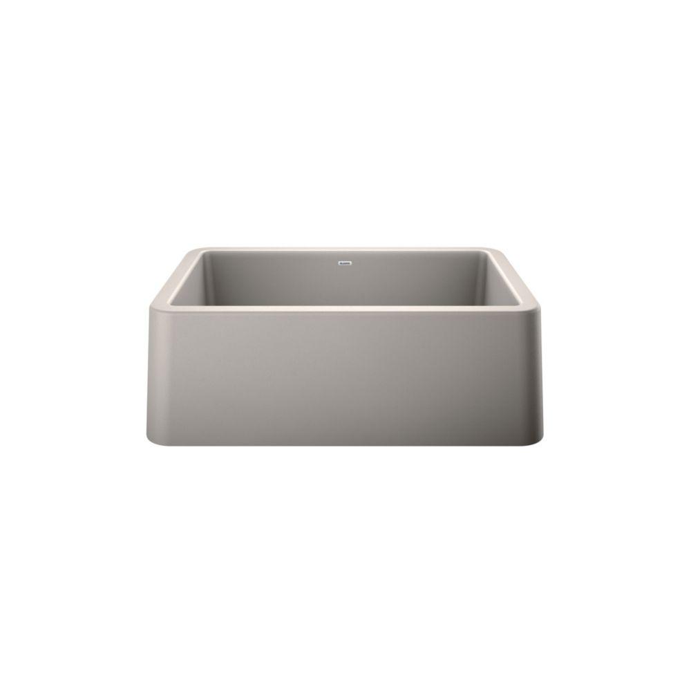 ikon 30 single bowl farmhouse kitchen sink silgranit concrete gray
