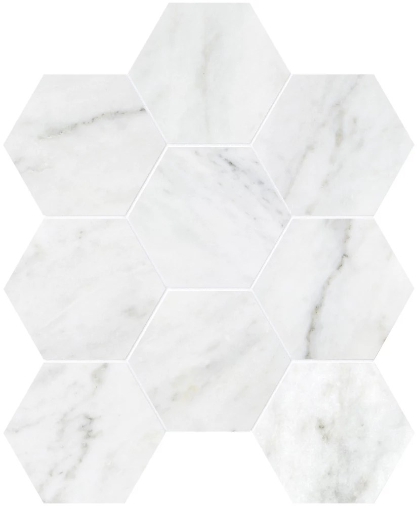 bianco 4 inch hexagon polished marble mosaics