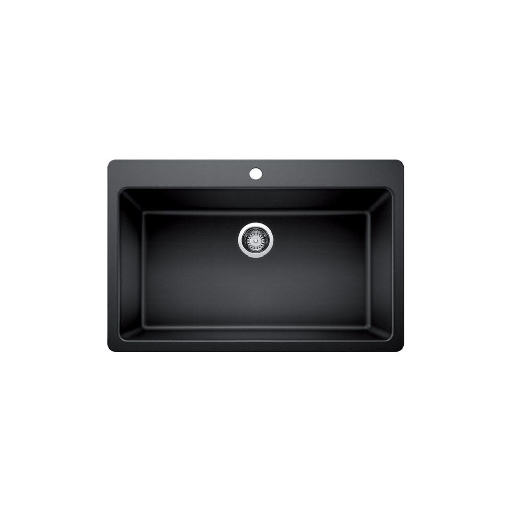 single bowl dualmount kitchen sink black