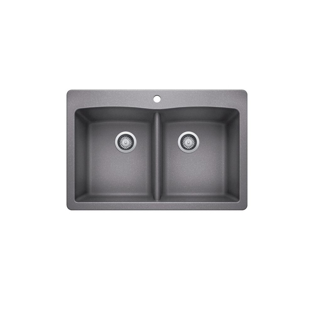 33 inch drop in double bowl composite kitchen sink in silver