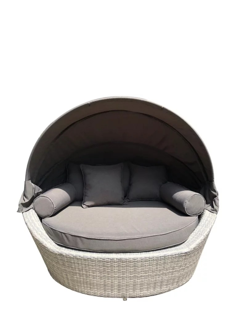 sogno light grey all weather wicker patio canopy daybed
