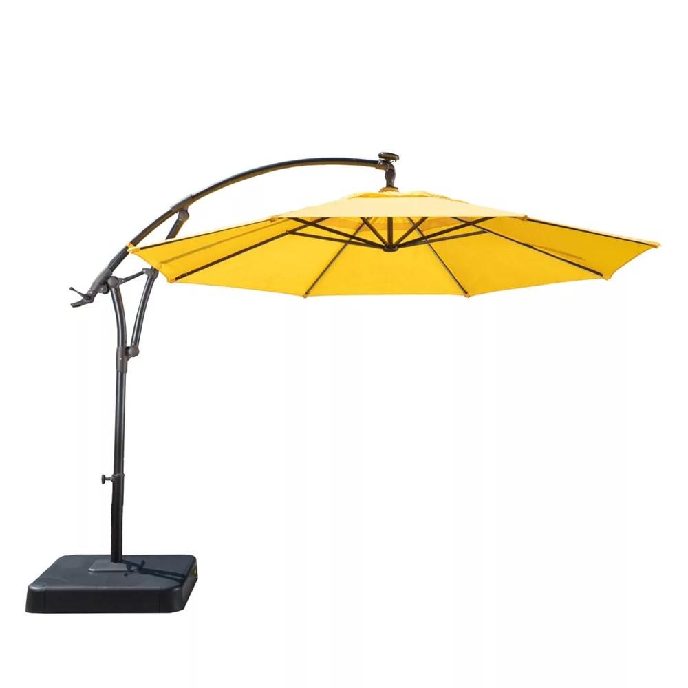 11 ft lightbar offset solar patio umbrella in daffodil yellow
