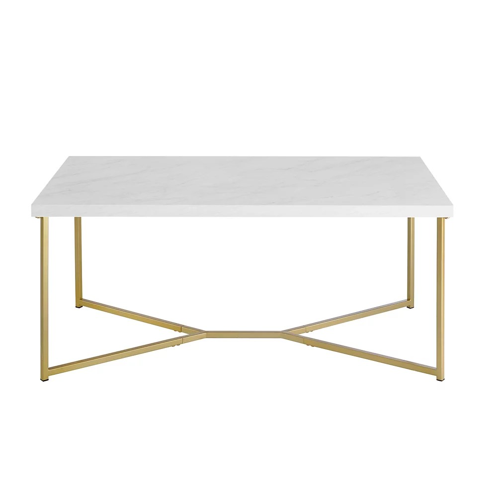 rectangular mid century modern marble coffee table with gold metal base in white