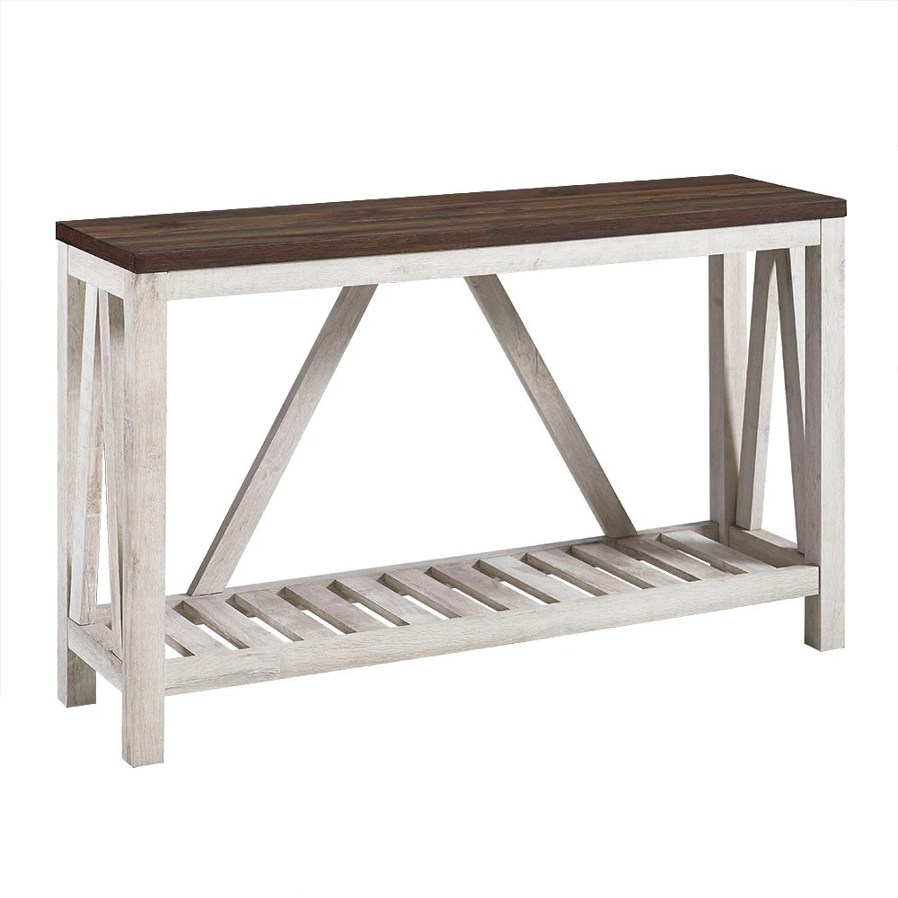 Welwick Designs Modern Farmhouse Accent And Entryway Table Dark Walnut White Oak The Home Depot Canada