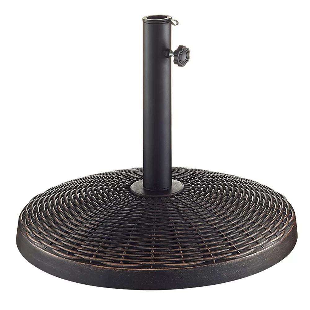 wicker style round outdoor patio umbrella base antique bronze