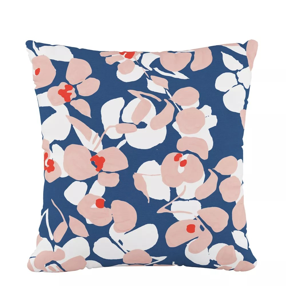 18 decorative pillow in color block floral lg navy blush oga