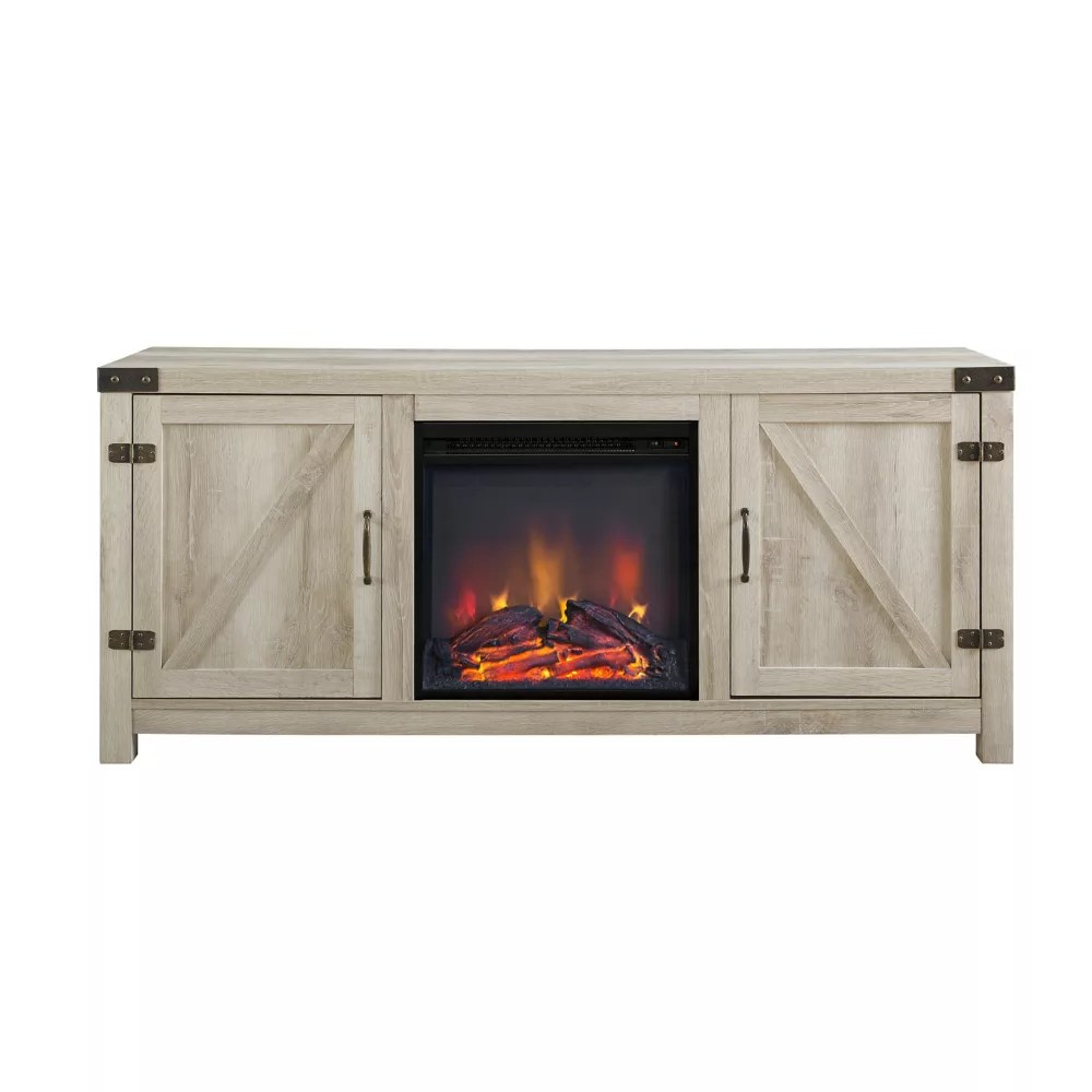 meuble tv avec cheminee et porte de grange en bois de 147 32 cm 58 po chene blanc