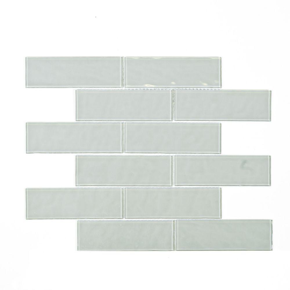 cobble brick grey 2 inch x 6 inch x 4mm glass wall mosaic tile