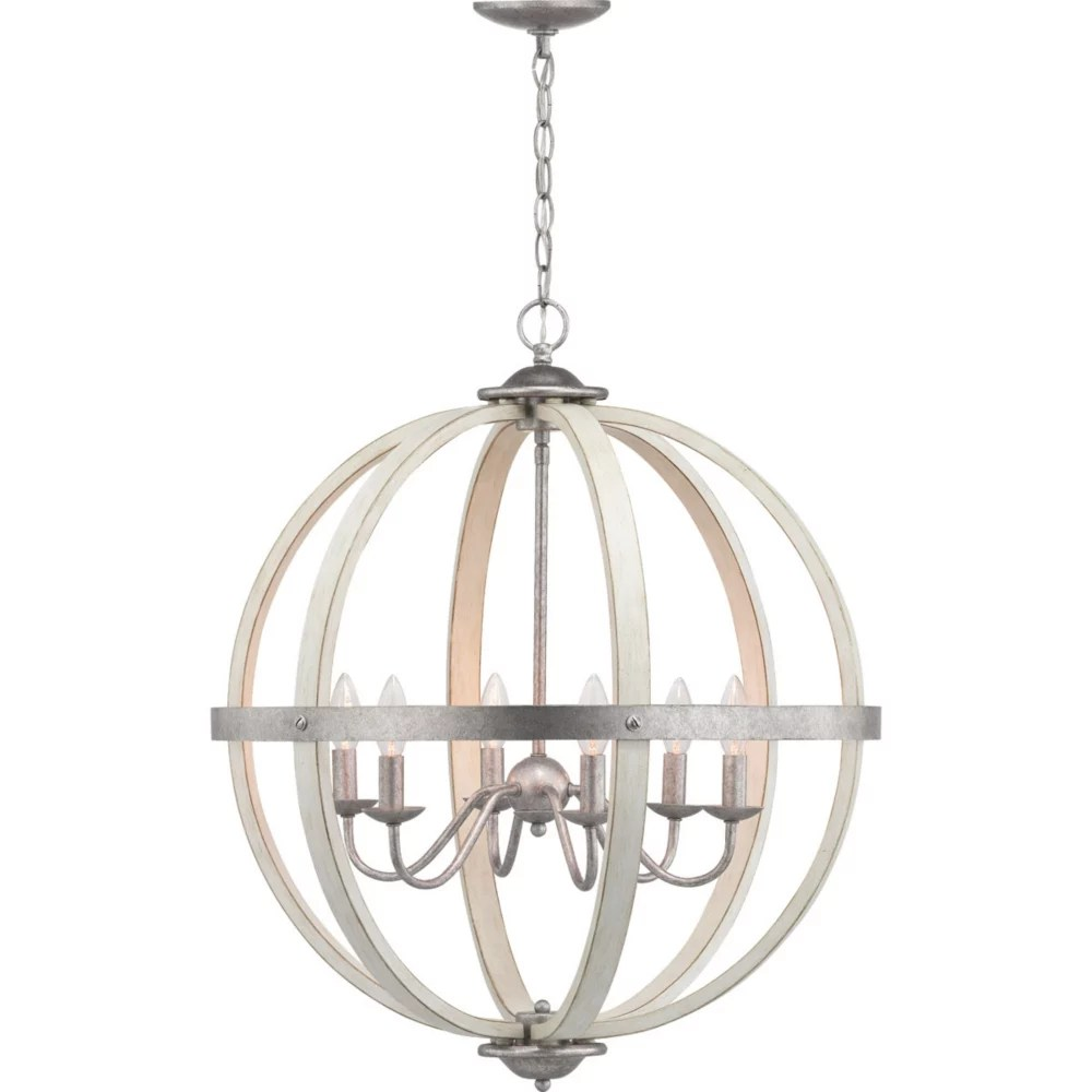 keowee collection 6 light galvanized chandelier with white wood accents