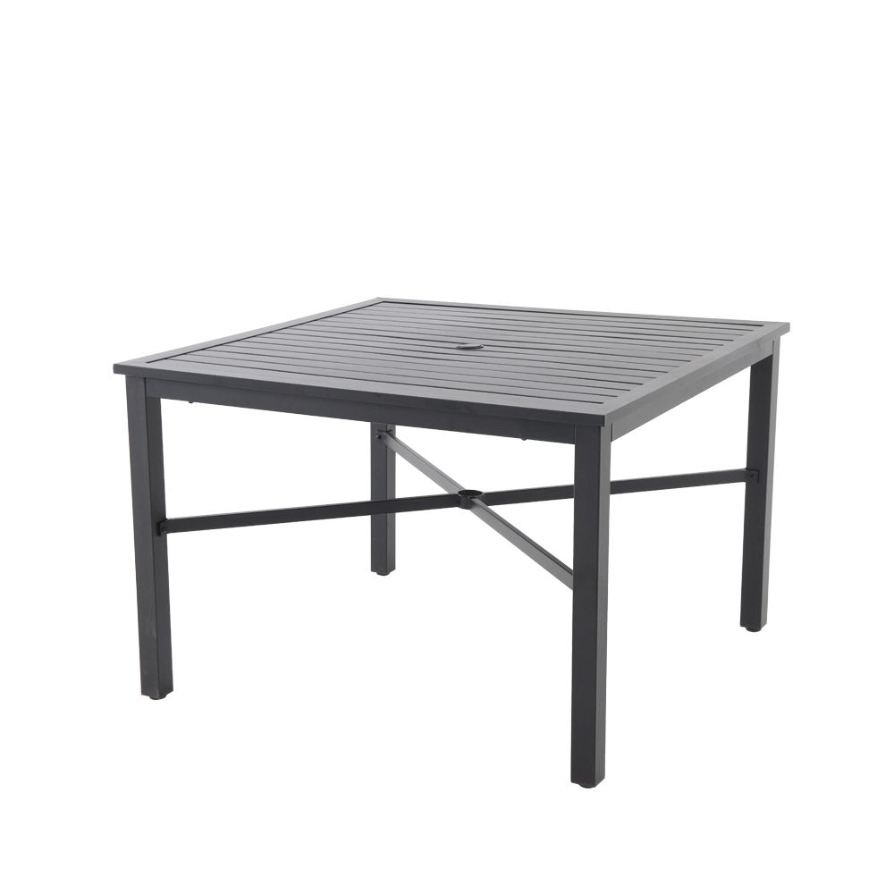 42 inch mix and match black square metal outdoor patio dining table with slat top