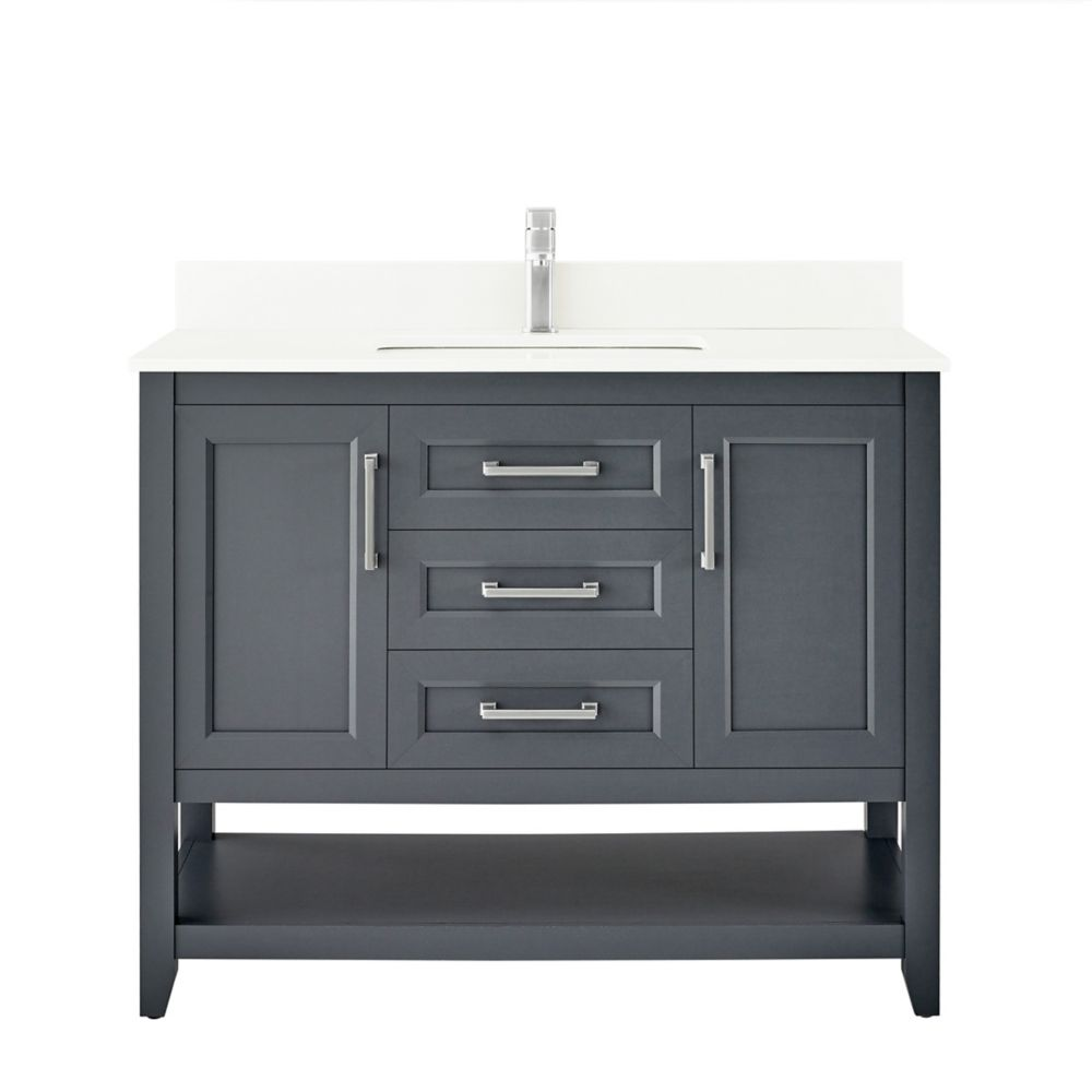 southgate 42 inch vanity in dark charcoal with white cultured marble top and brushed nickel hardware
