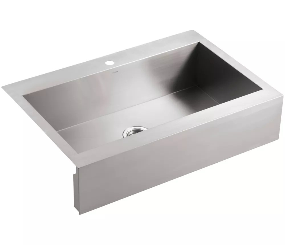 self trimming top mount stainless steel apron front kitchen sink 1 faucet hole