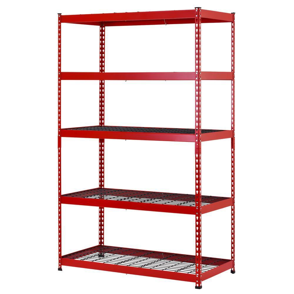 rayonnage de garage en acier a 5 etageres de 48 pouces de large x 78 pouces de haut x 24 pouces de profondeur en rouge noir