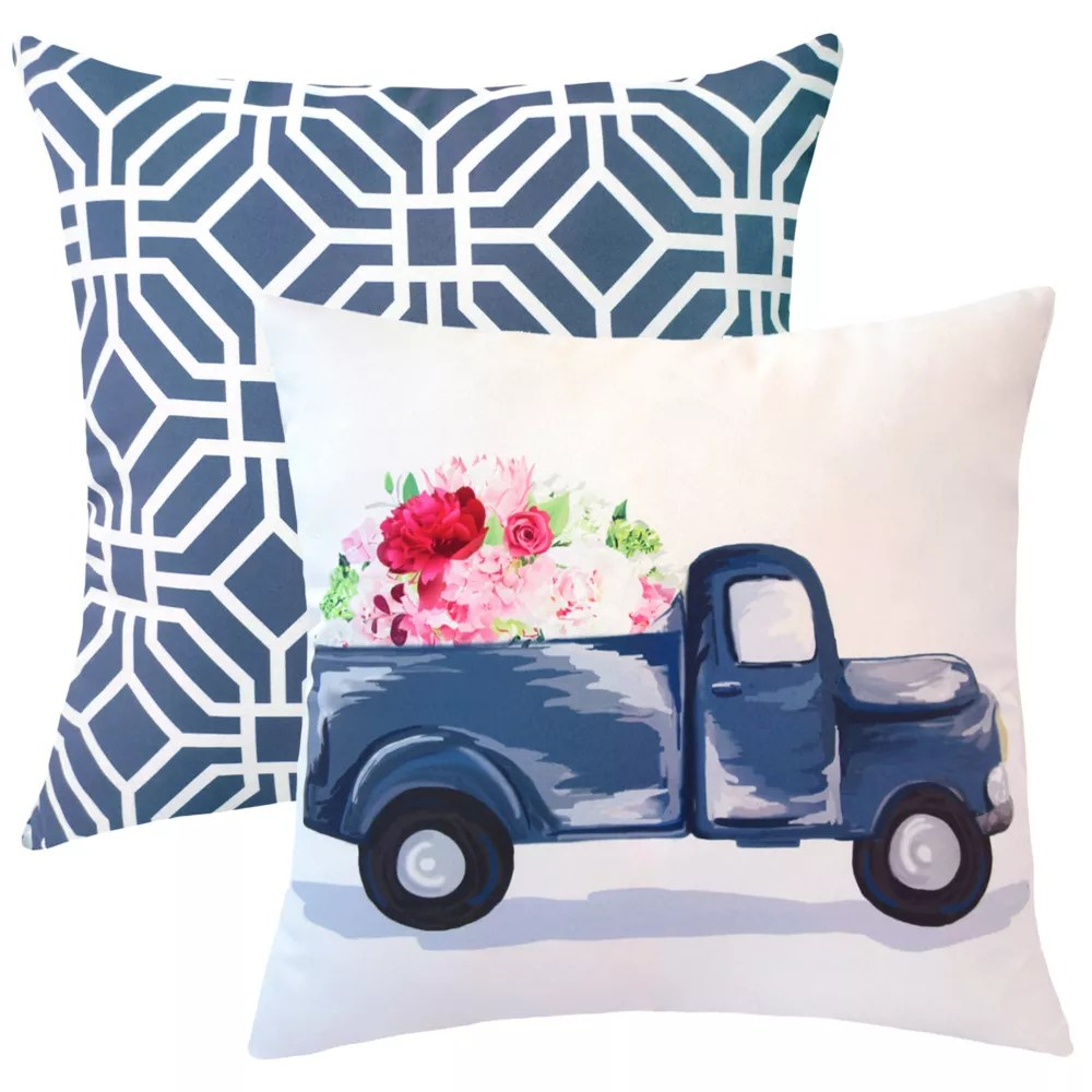 20 inch x 20 inch spring truck outdoor throw pillow set of 2
