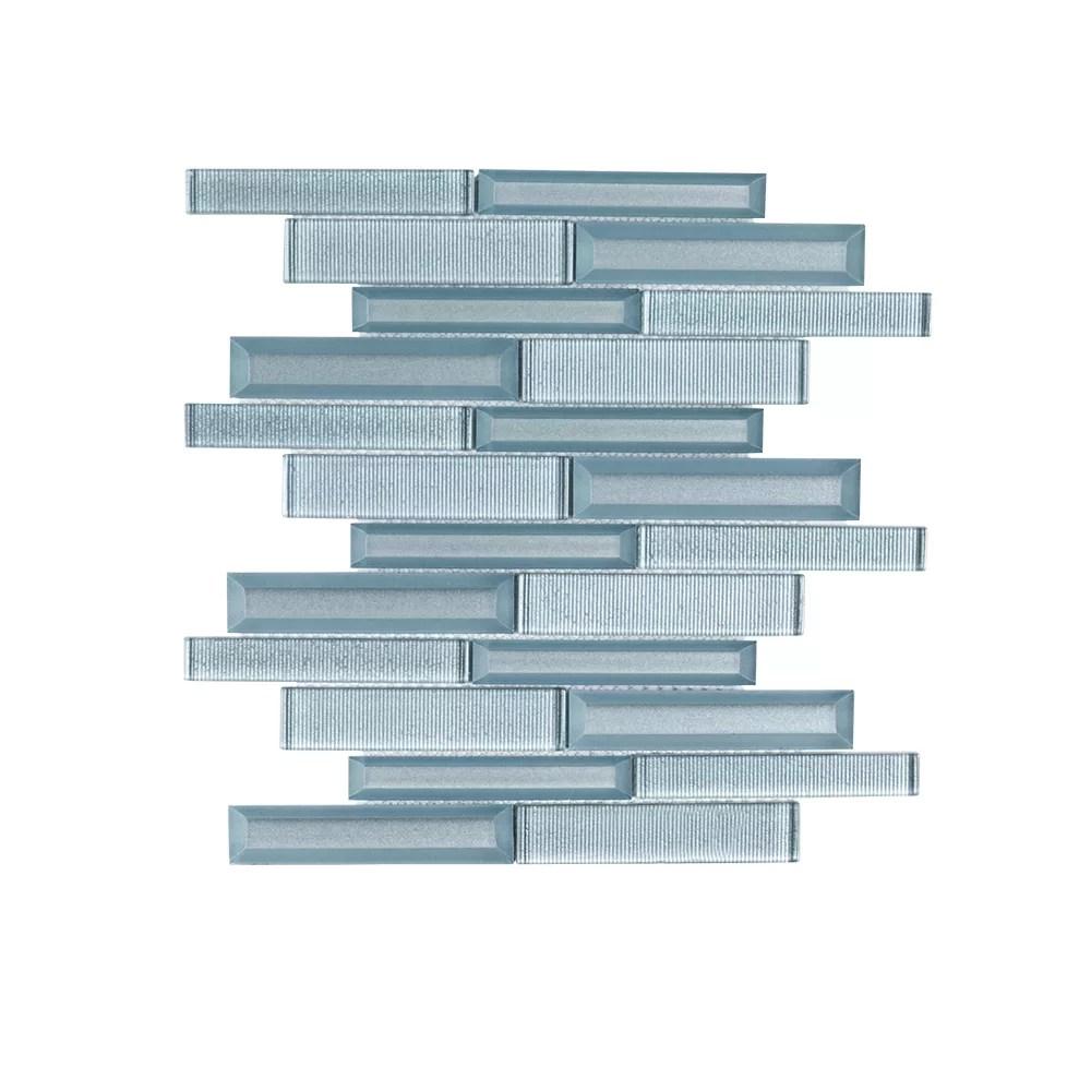 lightbeam blue interlocking 10 inch x 11 875 inch x 8 mm glass mosaic tile