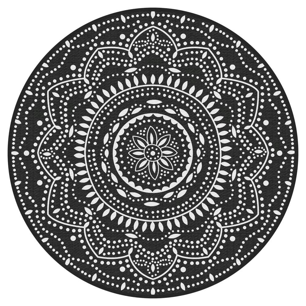 mara black 6 ft x 6 ft round polyweave outdoor rug