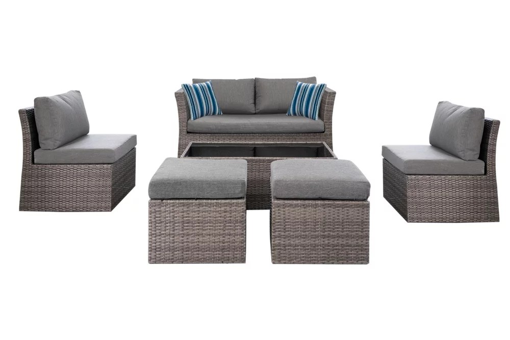 napa 6 piece woven steel patio conversation set with charcoal cushions