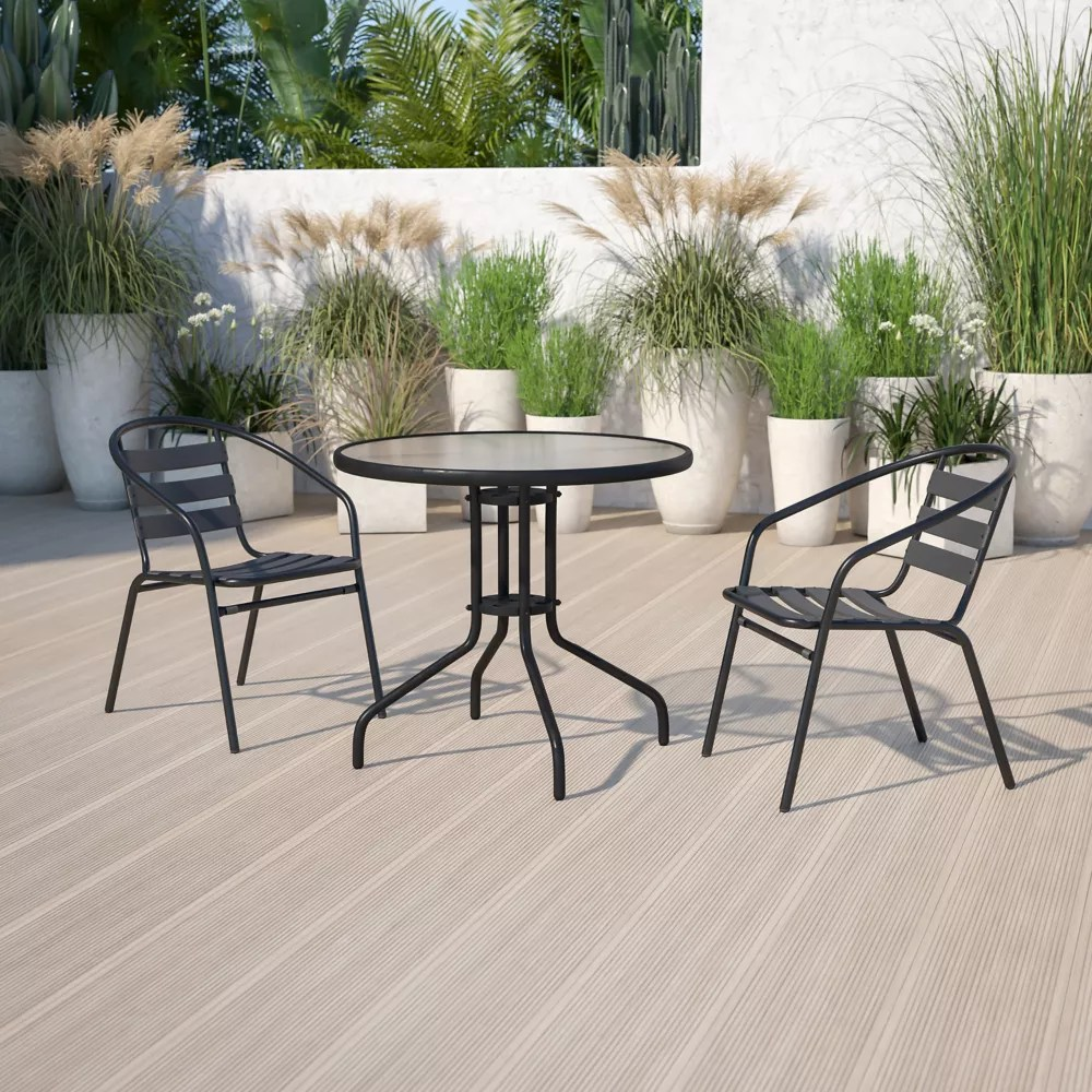 23 75rd glass blk patio table