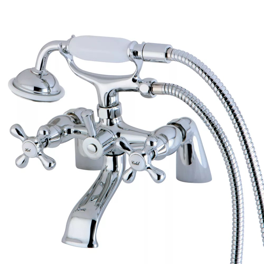 https www homedepot ca product kingston brass victorian 3 handle deck mount claw foot tub faucet with hand shower in chrome 1001505816