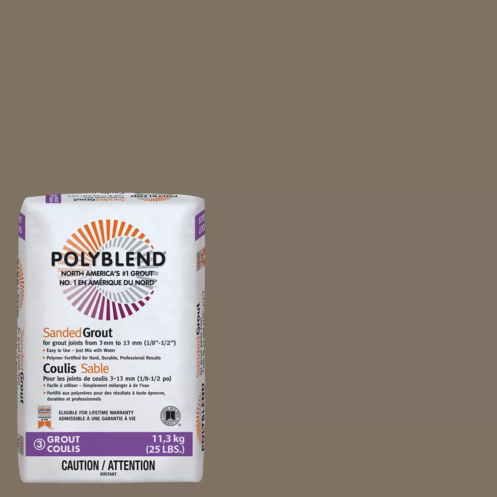 polyblend sanded grout for tile and stone 541 walnut 25 lb